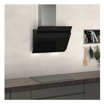 Image of Neff D65IHM1S0B 60cm Angled Chimney Hood in Black Glass