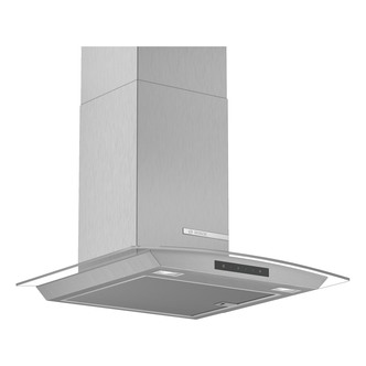 Image of Bosch DWA66DM50B Serie 4 60cm Curved Glass Chimney Hood in Brushed Ste