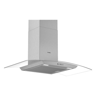 Image of Bosch DWA94BC50B Serie 2 90cm Curved Glass Chimney Hood in Brushed Ste