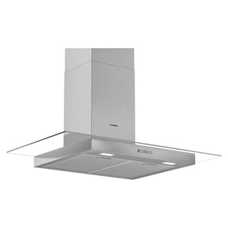 Image of Bosch DWG94BC50B Serie 4 90cm Flat Glass Chimney Hood in Brushed Steel