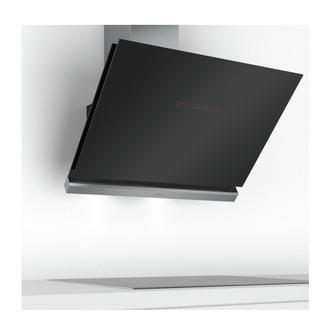Image of Bosch DWK98PR60B Serie 8 90cm H C Angled Chimney Hood in Black Glass