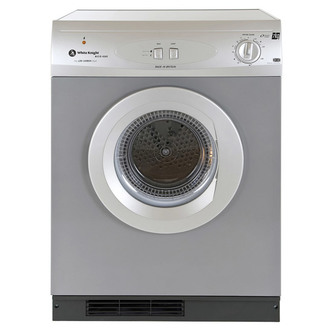 White Knight ECO43AS 7kg Gas Tumble Dryer in Silver Multifunction