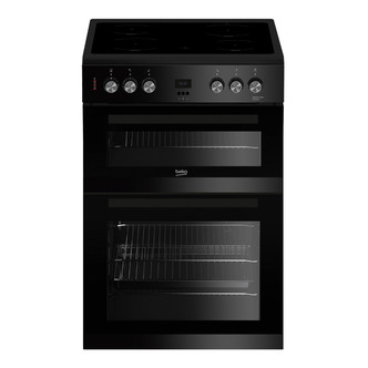 Image of Beko EDC633K 60cm Electric Cooker in Black Double Oven Ceramic Hob