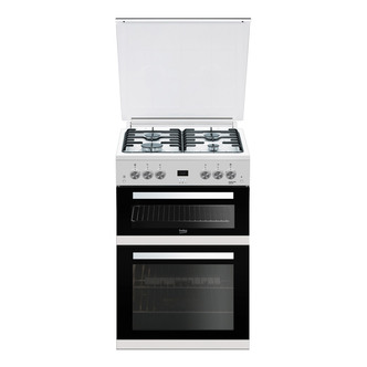 Image of Beko EDG6L33W 60cm Double Oven Gas Cooker in White Glass Lid FSD