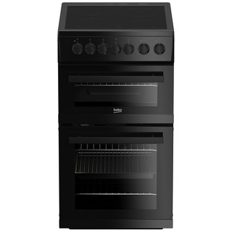 Image of Beko EDVC503B 50cm Electric Cooker in Black Double Oven Ceramic Hob