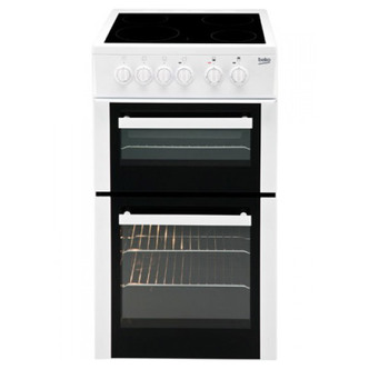 Image of Beko EDVC503W 50cm Electric Cooker in White Double Oven Ceramic Hob