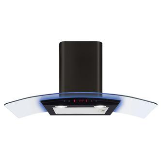 Image of CDA EKP70BL 70cm Curved Glass Chimney Hood in Black