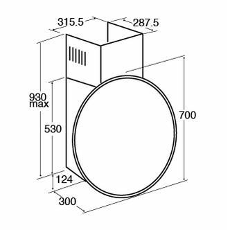 Image of CDA EVQ7BL 70cm Circular Chimney Hood in Black Glass 4 Speed Fan