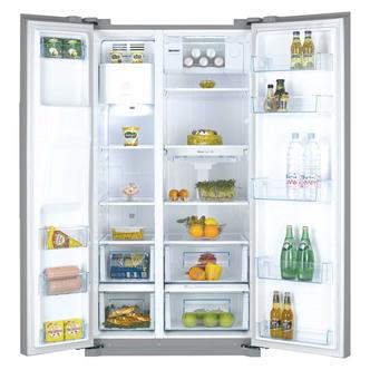 Daewoo FRAX22NP3S American Fridge Freezer in Silver Ice Water Non Plum