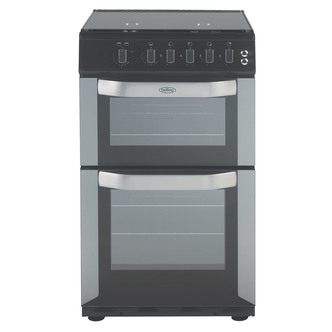 Image of Belling FSG50DO SIL 50cm Gas Cooker in Silver Double Oven Glass Lid FS