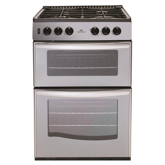 New World 444440077 55cm Twin Cavity Gas Cooker in Silver