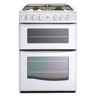 New World 444440076 55cm Twin Cavity Gas Cooker in White