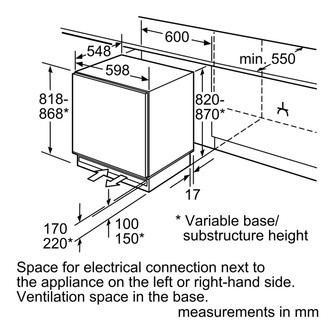 Bosch GUD15AFF0G 60cm Built Under Integrated Freezer 0 82m 98L F