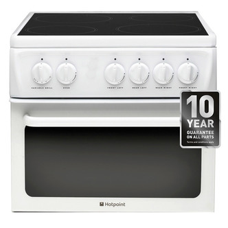 Hotpoint HAE51PS 50cm Twin Cavity Electric Cooker in White Ceramic Hob