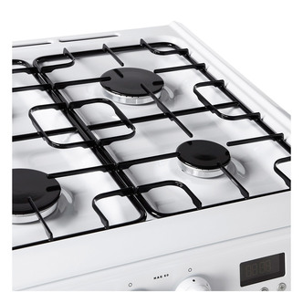 Image of Hotpoint HAG60P 60cm Gas Cooker in White Double Oven FSD A Rated
