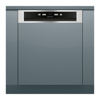 Hotpoint HBC2B19X 60cm Semi Integrated Dishwasher in St Steel F Rated