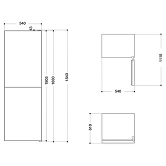 Hotpoint HBNF55181B 54cm Frost Free Fridge Freezer in Black 1 83m F Ra