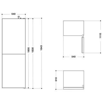 Hotpoint HBNF55181S 54cm Frost Free Fridge Freezer in Silver 1 83m E R