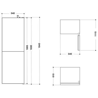 Hotpoint HBNF55181W 54cm Frost Free Fridge Freezer in White 1 83m F Ra