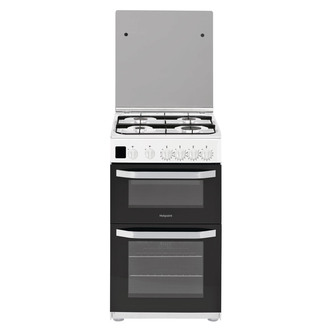 Image of Hotpoint HD5G00CCW 50cm Gas Cooker in White Double Oven Catalytic Line