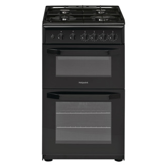 Image of Hotpoint HD5G00KCB 50cm Gas Cooker in Black Twin Cavity Catalytic Line