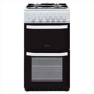 Image of Hotpoint HD5G00KCW 50cm Gas Cooker in White Twin Cavity Catalytic Line