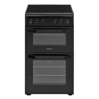 Image of Hotpoint HD5V92KCB 50cm Electric Cooker in Black Twin Cavity Ceramic H
