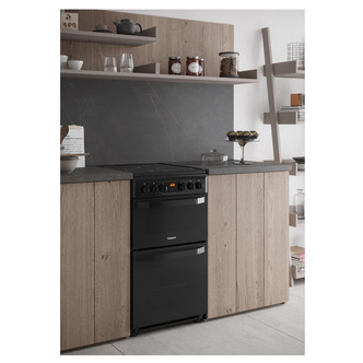 Image of Hotpoint HD5V93CCB 50cm Electric Cooker in Black Double Oven Ceramic H