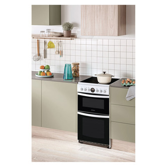 Image of Hotpoint HD5V93CCW 50cm Electric Cooker in White Double Oven Ceramic H