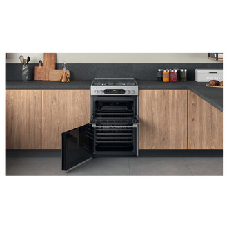 Hotpoint HD67G8CCX 60cm Dual Fuel Cooker in St Steel Double Oven Gas H
