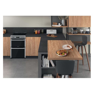 Hotpoint HDM67V8D2CX 60cm Electric Cooker in St St Double Oven Ceramic