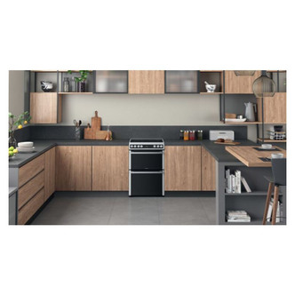 Hotpoint HDT67V9H2CX 60cm Electric Cooker in St St Double Oven Ceramic