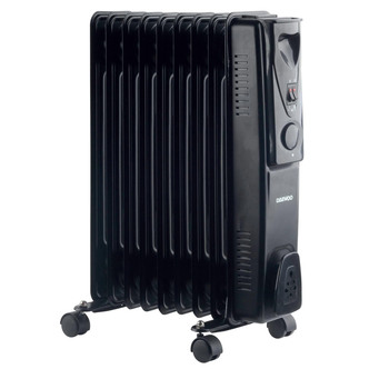 Daewoo Oil Filled Portable Radiator Black 2000W With Heat Settings and Thermostat Control