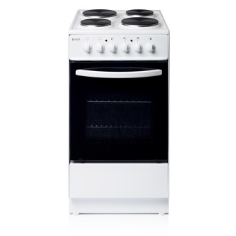 Haden HES50W 50cm Electric Cooker in White Single Oven Sealed Plate