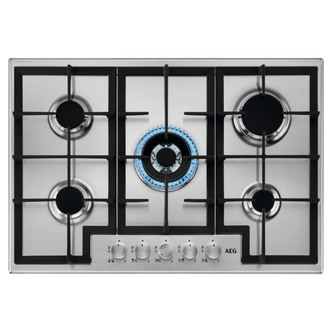 AEG HGB75400SM 75cm 5 Burner Slim Gas Hob in St Steel Wok Burner