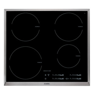 AEG HK654200XB 60cm Induction Hob Black with Stainless Steel Trim