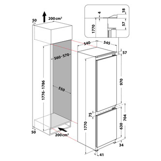 Hotpoint HMCB70301UK Low Frost 70/30 Integrated Fridge Freezer
