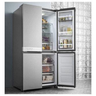 Hotpoint HQ9B1L American 4 Door Frost Free Fridge Freezer in St Steel