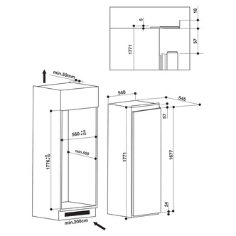 Hotpoint HS18011 A+ 55cm Integrated Tall Larder Fridge
