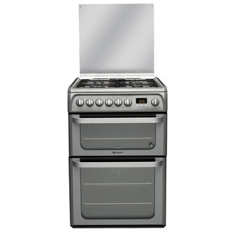 Image of Hotpoint HUD61GS 60cm ULTIMA Dual Fuel Cooker in Graphite Double Oven