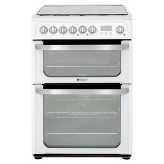 Image of Hotpoint HUD61PS 60cm ULTIMA Dual Fuel Cooker in White Double Oven