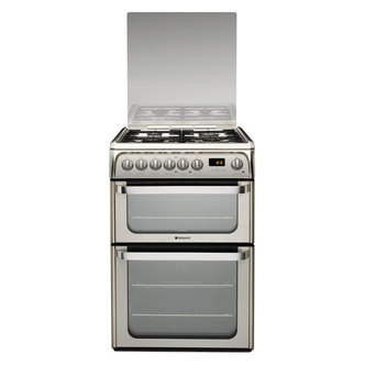 Image of Hotpoint HUD61XS 60cm ULTIMA Dual Fuel Cooker in St Steel Double Oven