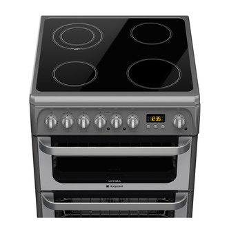 Image of Hotpoint HUE61GS 60cm ULTIMA Electric Cooker in Graphite Double Oven