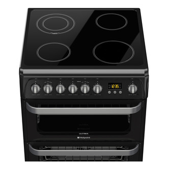 Image of Hotpoint HUE61KS 60cm ULTIMA Electric Cooker in Black Double Oven