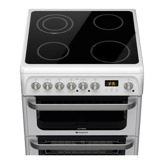Image of Hotpoint HUE61PS 60cm ULTIMA Electric Cooker in White Double Oven