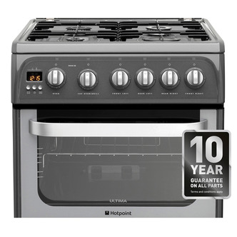 Hotpoint HUG52G 50cm ULTIMA Gas Cooker in Graphite Double Oven A Rated