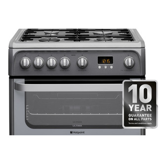 Image of Hotpoint HUG61G 60cm ULTIMA Gas Cooker in Graphite Double Oven FSD