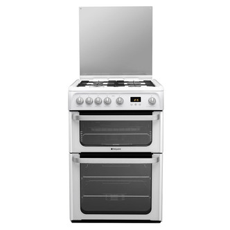 Image of Hotpoint HUG61P 60cm ULTIMA Gas Cooker in Polar Double Oven A Rated