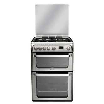 Hotpoint HUG61X 60cm ULTIMA Gas Cooker in St Steel Double Oven A Rated