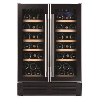 Image of Hoover HWCB60DUK Built In 38 Bottle Dual Zone Wine Cooler in Black